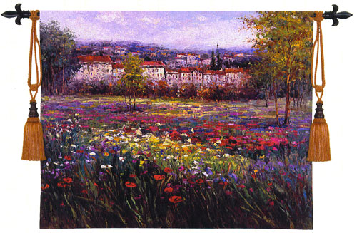 Tuscan Decor Tapestry Wall Hanging - Tuscan Pleasures, 53in X 53in