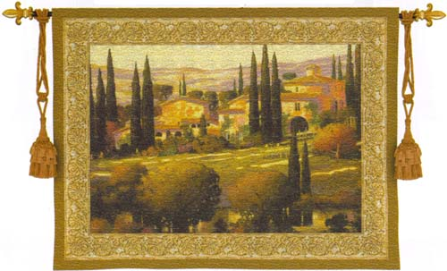 Tuscan Decor Tapestry Wall Hanging - Tuscan Gold, 40in X 53in