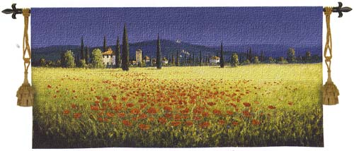 Tapestry Tuscan Panorama With Poppies - Tuscan Decor Picture, 26in X 53in