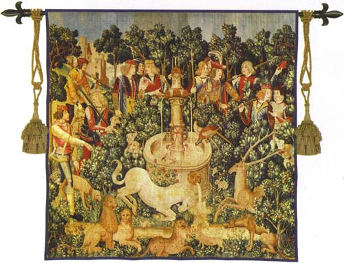 Unicorn Dips His Horn Medieval Tapestry Wall Hanging (One Of The Famous Medieval Tapestries)