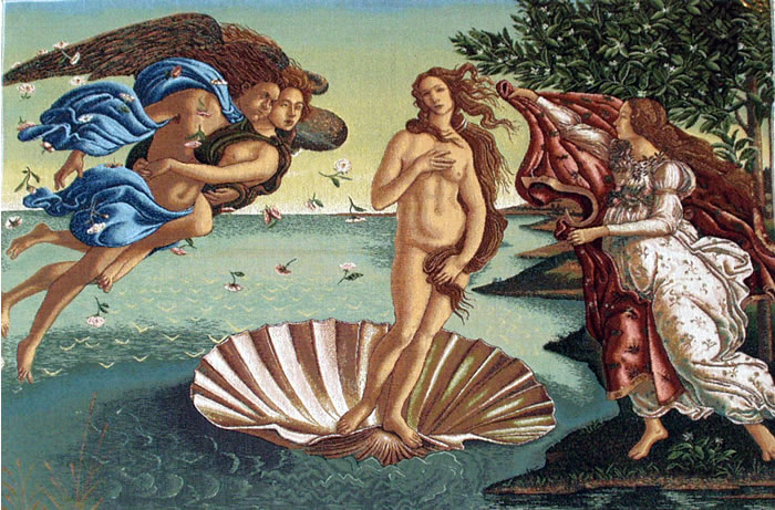 BIRTH OF VENUS BY BOTTICELLI TAPESTRY MYTHOLOGICAL PAINTING