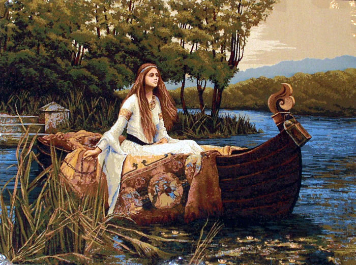 Painting Of The Lady Of Shalott By John William Waterhouse - Medieval Tapestry Wall Hanging, 29in X 36in