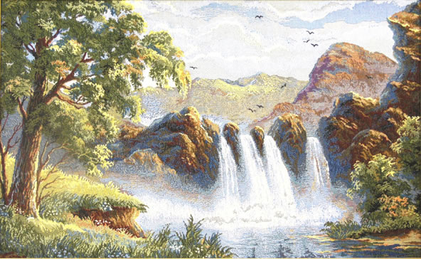 Waterfall in Mountains Tapestry Wall Hanging Landcape Picture