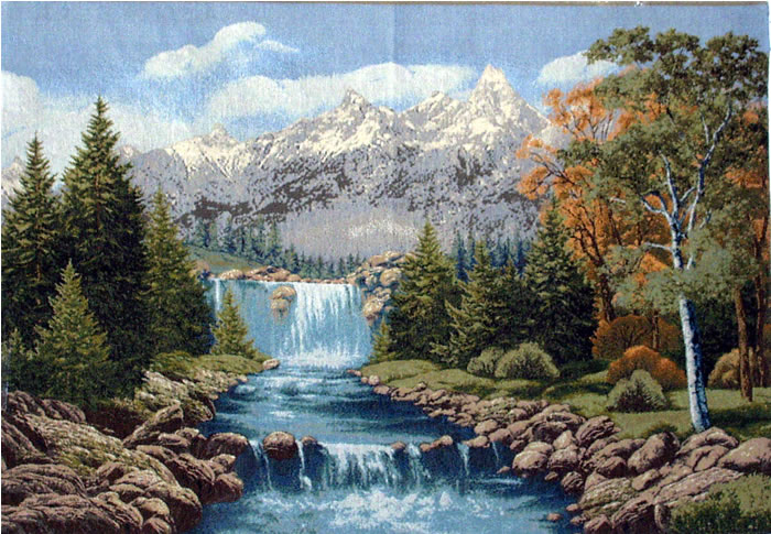 Large Wall Tapestry Waterfall In Mountains - Landscaping Picture (Exclusive Wall Tapesteries Collection), 43in X 28in