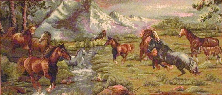 Horse Tapestry Wild Horses In Mountains, 56in X 28in