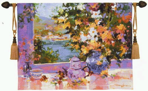 Floral Tapestry The Window View - Fine Art Landscape Picture, 40in X 53in