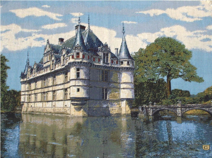 Belgian Medieval Tapestry French Azay Le Rideau (One Of Our Best Selling Castle Wall Tapestries), 18.5in X 24in