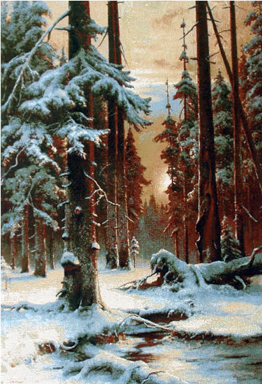 Large Wall Tapestry Beautiful Winter Forest Scenery, Sunset, 28in X 42in