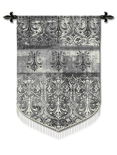 Abstract Damask Pearl Mist Ornamental Tapestry Wall Hanging, 43in X 63in