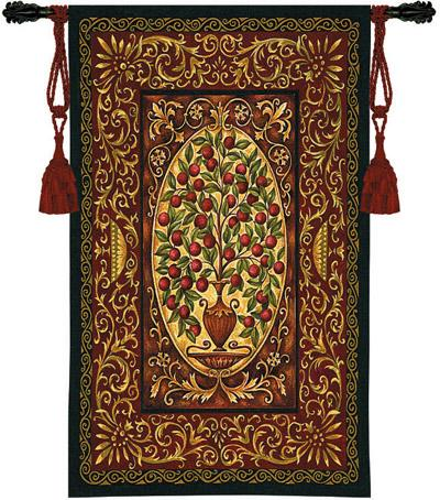 Abundance Ornamental Tapestry Wall Hanging - Botanical Urn Picture, 40in X 53in