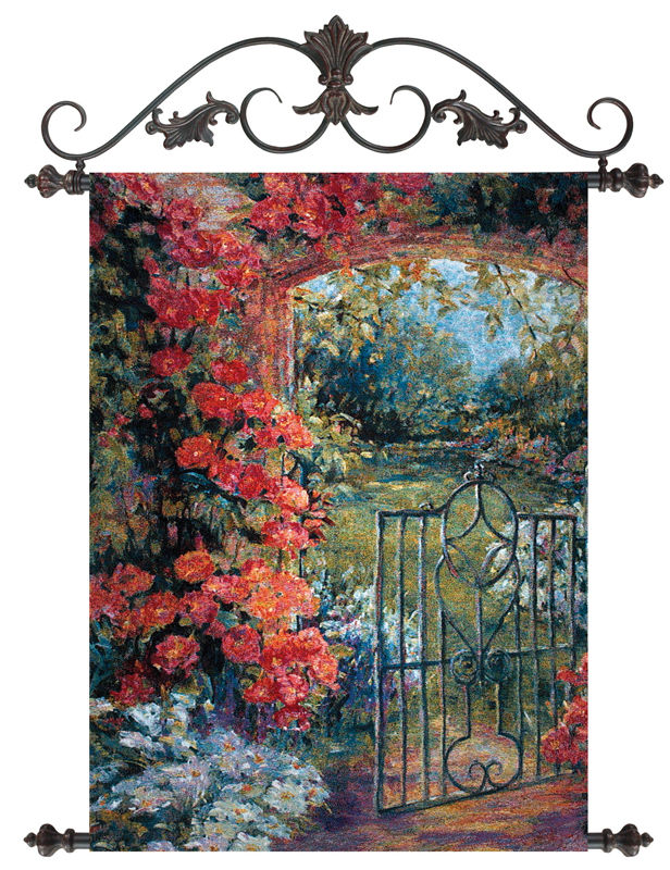 Abundant Spring Garden Tapestry - Floral Gateway Picture, 26in X 36in