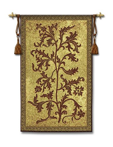 Acanthus Vine Ornamental Wall Tapestry - Floral Motif, 25in X 42in
