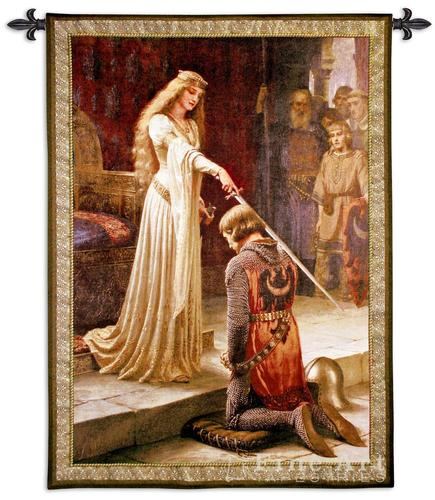 The Accolade Painting Medieval Tapestry Wall Hanging - Knighting Ceremony by Leighton (One Of Our Best Medieval Tapestries)