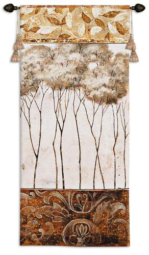 African Trees I Contemporary Wall Tapestry - Modern Design, 26in X 53in