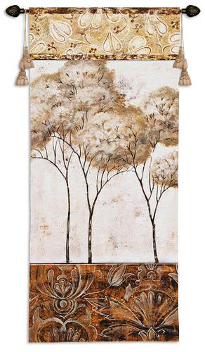 African Trees II Contemporary Wall Tapestry - Modern Design, 26in X 53in