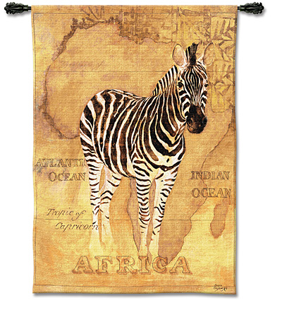 African Voyage II Animal Tapestry Wall Hanging - Zebra Picture, 38in X 53in