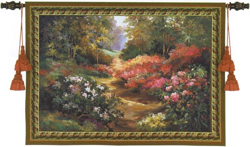 Along The Garden Path Landscape Wall Tapestry - Beautiful Garden Picture, 53in X 68in