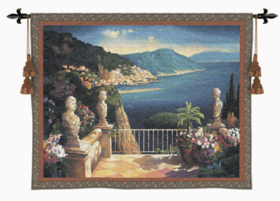 Amalfi Holiday Landscape Tapestry Wall Hanging, 53in X 41in
