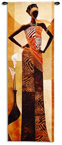 Amira Romantic Tapestry Wall Hanging - African Woman Portrait, 16in X 48in