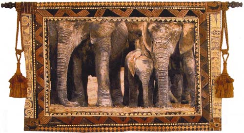 Among Family Tapestry Wall Hanging - Animal Picture, 53in X 38in