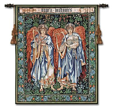Angeli Landente Medieval Tapestry Wall Hanging - William Morris Design, 44in X 53in