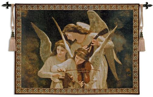 Angels Playing Violin Romantic Tapestry Wall Hanging, 53in X 39in