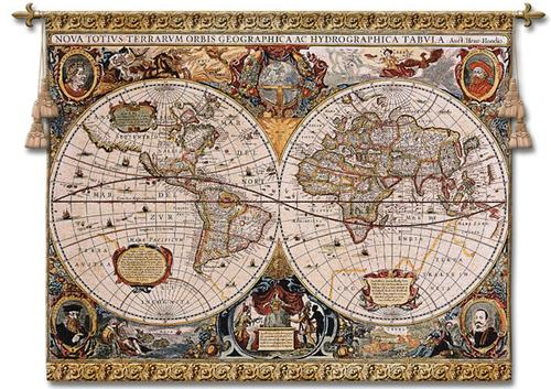 Antique Map Wall Tapestry, 67in X 53in