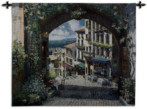 Arch De Cagnes Mediterranean Wall Tapestry - Town Scene, 63in X 57in