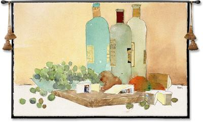 Art Of Good Living Wine Still Life Wall Tapestry - Wine Bottles & Grapes, 53in X 35in