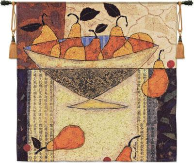 Asian Pears In Bowl Still Life Tapestry Wall Hanging - Geometrical Design With Fruits, 54in X 52in