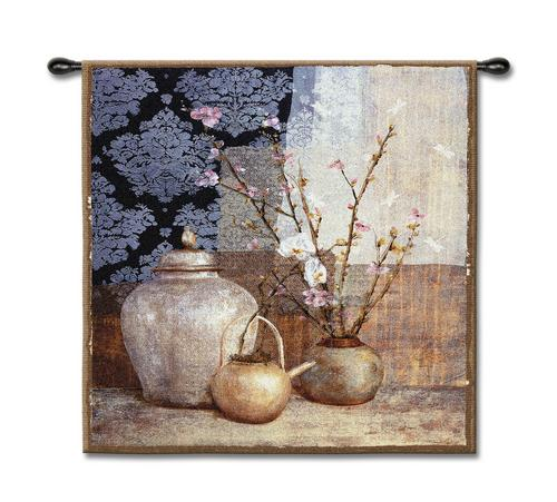 Asian Still Life Wall Tapestry - Ethnic Motif, 53in X 53in