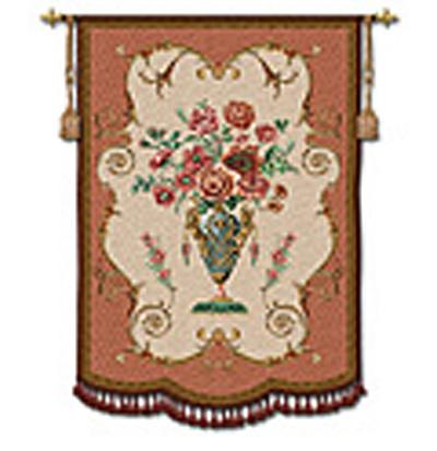 Aubusson Ornamental Wall Tapestry - Floral Design, 36in X 49in