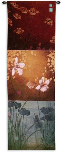 Aura Abstract Tapestry Wall Hanging - Contemporary Botanical Design, 18in X 53in