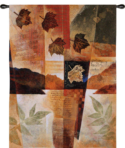 Autumn Melody I Quilted Leaf Accent Contemporary Tapestry Fine Art Picture, 40in X 53in