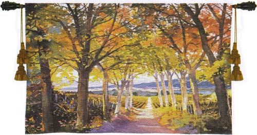 Autumn Path Landscape Tapestry Wall Hanging, 53in X 34in