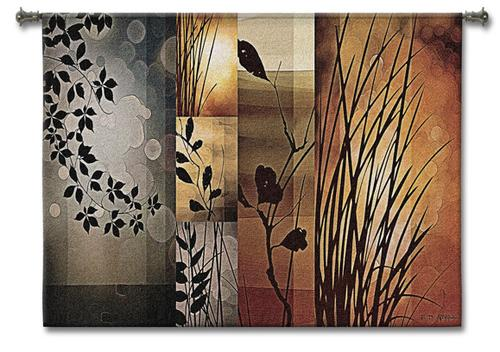 Autumnal Equinox Abstract Tapestry Wall Hanging - Contemporary Botanical Design, 53in X 40in