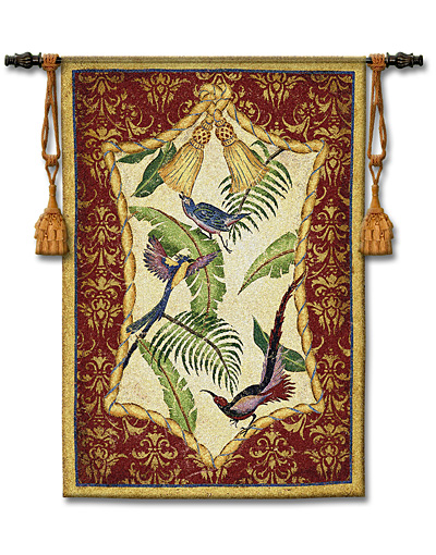 Aviary I Bird Tapestry Wall Hanging, 38in X 53in