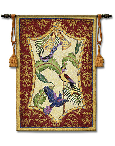 Aviary II Bird Tapestry Wall Hanging, 38in X 53in
