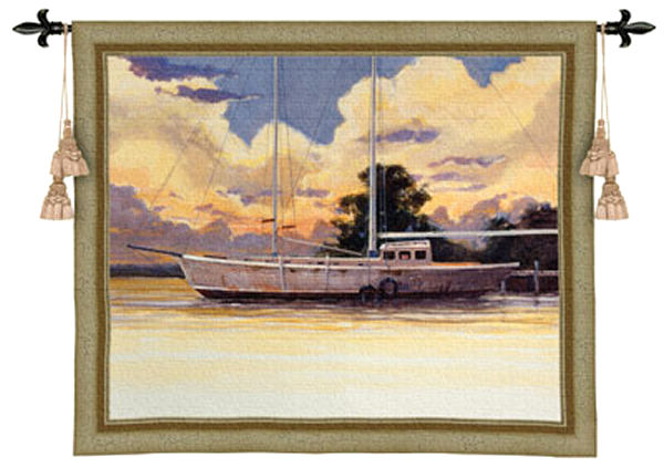 Awaiting Sail Nautical Tapestry Wall Hanging - Boats Picture, 53in X 44in