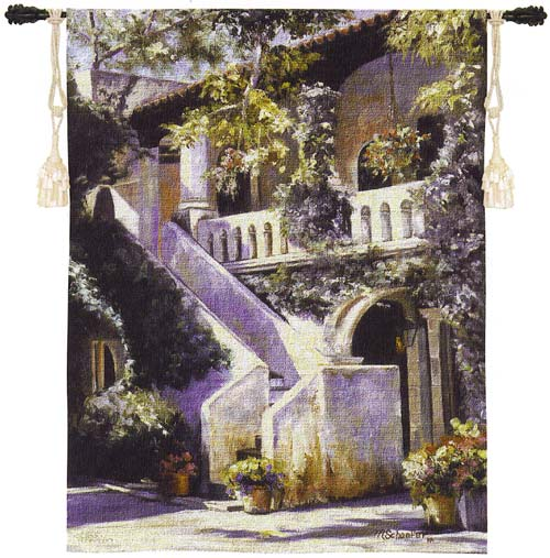 Balcony De La Flora Tapestry Wall Hanging - Stairs With Flowers, 40in X 53in