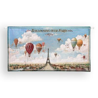 Ballooning Over Paris Cityscape Wall Tapestry - Panoramic View, 48in X 25in