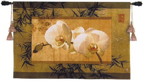 Bamboo And Orchids I Tapestry Wall Hanging - Floral Picture, 39in X 26in