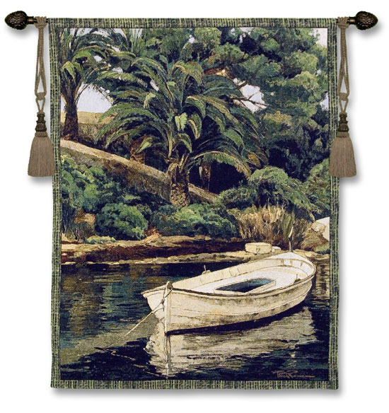 Barca Y Pameras Tapestry Wall Hanging - Tropical Landscape Picture, 40in X 52in