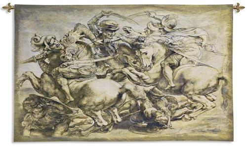 Battle Of Anghiari Art Wall Tapestry - Rubens Reproduction, 92in X 63in