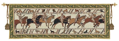 Bayeaux Tapestry Wall Hanging - Medieval Warriors Picture, 76in X 27in