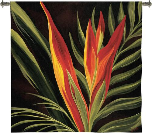 Birds Of Paradise II Floral Tapestry Wall Hanging - Botanical Design In Bright Colors, 53in X 53in