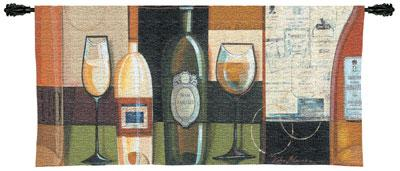 Blanco Wine Still Life Wall Tapestry - Geometrical Collage, 53in X 24in