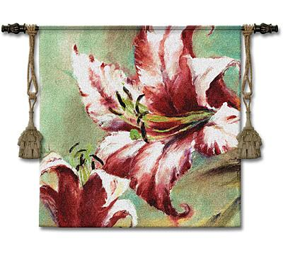 Blooming Lily Contemporary Tapestry Wall Hanging - Modern Floral Design, 44in X 44in