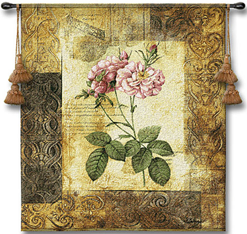 Blossoming Elegance II Botanical Tapestry - Contermporary Floral Design, 41in X 53in