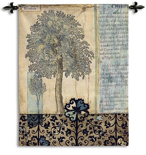 Blue Autumn Contemporary Tapestry Wall Hanging - Abstract Tree Collage, 42in X 53in